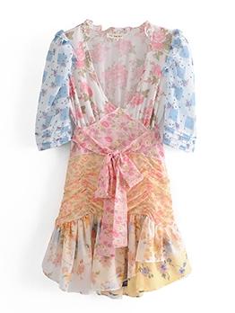 Sweet Color Block Printed Short Sleeve Dress