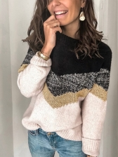 Leisure Wear Crew Neck Knitted Colorblock Sweater