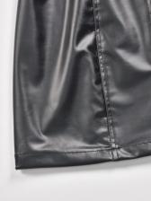 Chic Zipper Up Pu High Waisted Skirt