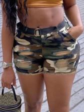 Summer Stretch Camouflage Plus Size Denim Shorts