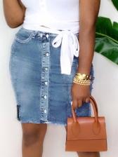 Chic Button Up Pencil Denim Skirt