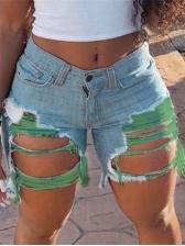 Plus Size Contrast Color Distressed Denim Shorts