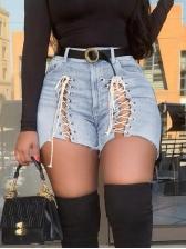 Trendy Front Lace-Up Denim Shorts