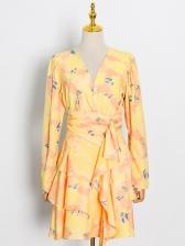 Stylish Tiered Ruffled Puff Sleeve One Piece Dress