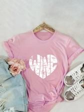 Heart Print Short Sleeve Ladies Tee Shirts