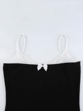 Lace Panel Spaghetti Strap Mini Dress