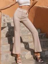 High Waisted Solid Women Flare Pants