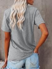 Clover Printed Women Casual Gray T-Shirt