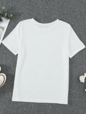Casual Versatile White Printed Tee Women