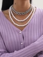 Vintage Faux-Pearl Necklace Sets Women