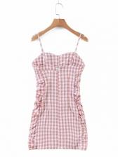 Fashion Plaid Ruched Sleeveless Mini Dress