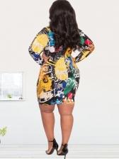 Skinny Colorful Print Plus Size Long Sleeve Dress