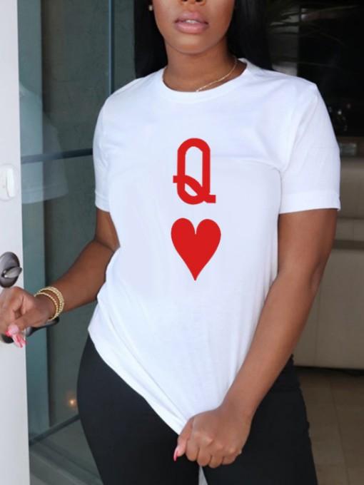 Playing Cards Printed Fashion Short Sleeve T-Shirt