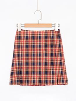 Korean Style Plaid Split Pencil Skirt