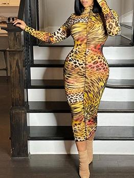 Trendy Animal Print Mock Neck Long Sleeve Dress