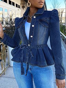 Stylish Ruffled Hem Button Up Denim Jacket