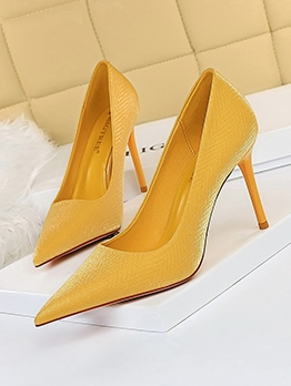 OL Style Solid Pointed Toe Stiletto Heels