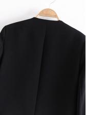 Simple V Neck Solid Color Cropped Blazer