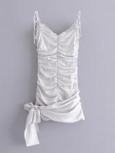 V Neck Irregular Draped Sleeveless Dress