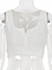 Summer Plain White Cropped Tank Top