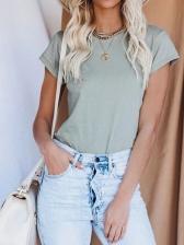 Simple Style Short Sleeve Plain T Shirts