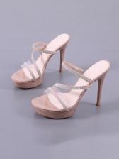 Round toe Rhinestone High Heel Womens Slippers