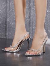 Clear Pointed Toe Rhinestone Heels For Women