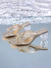 Clear Chunky Heel Women Flip Flop Slippers
