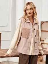 Button Down Pockets Patchwork Waistcoat