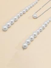 Simple Long Faux-Pearl Necklace Women