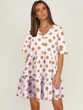 New Dot Loose V Neck Short Sleeve Dress