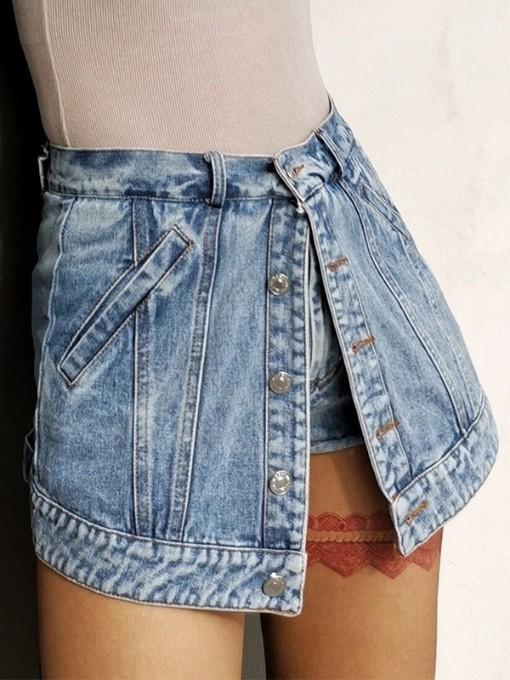 Chic Design High Waist Button Up Denim Shorts