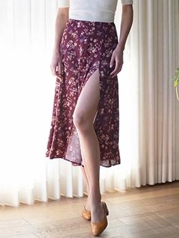 Fashion High Slit Floral Maxi Skirt