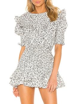 Irregular Ruffled Hem Short Sleeve Summer Dresses