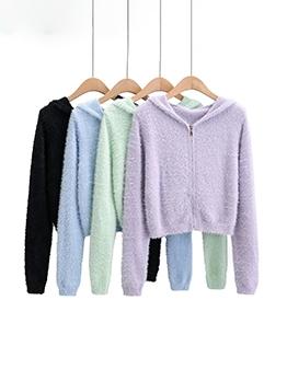 Zipper Up Hooded Collar Knitting Cardigan