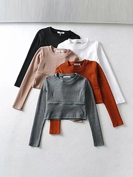 Euro Style Long Sleeve Crop T-Shirt For Women
