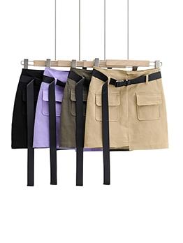 Pockets High Waist Irregular Short Skirt