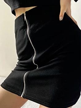 Sexy Solid Zipper Skinny Mini Skirt