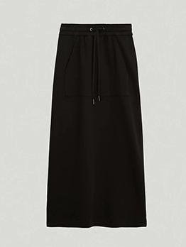 Elastic Waisted Solid Ladies Maxi Skirt