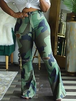 Mid Waist Plus Size Camouflage Bootcut Pants