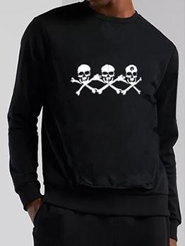 Skull Printed Long Sleeve Mens Sweatshirts