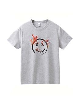 Smile Printed Short Sleeve Men T Shirt