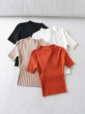 Crew Neck Solid Short Sleeve Knit T-Shirt