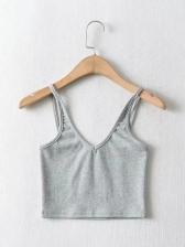 Deep V Neck Solid Crop Cami Top For Summer