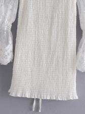 Fashion Square Neck Lace Sleeve White Dress