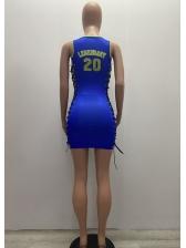 Side Lace-Up Letter Printed Summer Short Dress