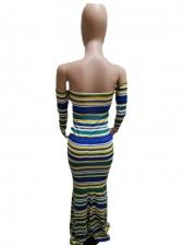 Striped Off Shoulder Long Sleeve Maxi Dress