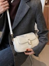 Solid Color Metal Decor Crossbody Shoulder Bag