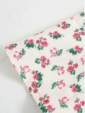 V Neck Tie-Wrap Floral Short Sleeve Dress