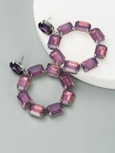 Fashion Street Rhinestone Geometry Earrings